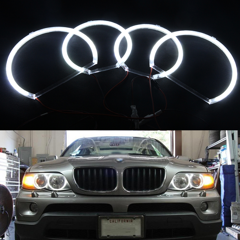 4 Pcs/lot White SMD 3014 Angel Eye LED Headlight Halo Ring Light Kit For BMW X5 E53 1999-2006 Angel Eyes 12V Auto Accessories super bright led angel eyes for bmw x5 2000 to 2006 color shift headlight halo angel demon eyes rings kit