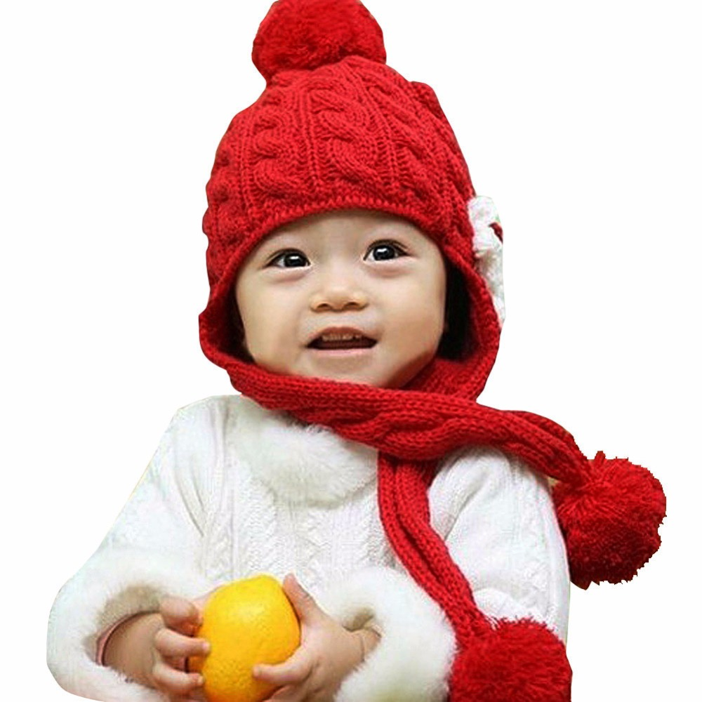 New Arrival Casual Solid Color Crochet Beanies Baby Toddler Girl Boy Flower Embellish Winter Hat Cap Ears Protect LB