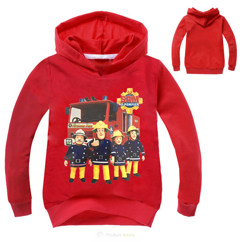 2018 New Boys warm Sweats fireman hoodies for boys blue red sweats kids clothing fire fighter clothes 3-4-5-6 years boy