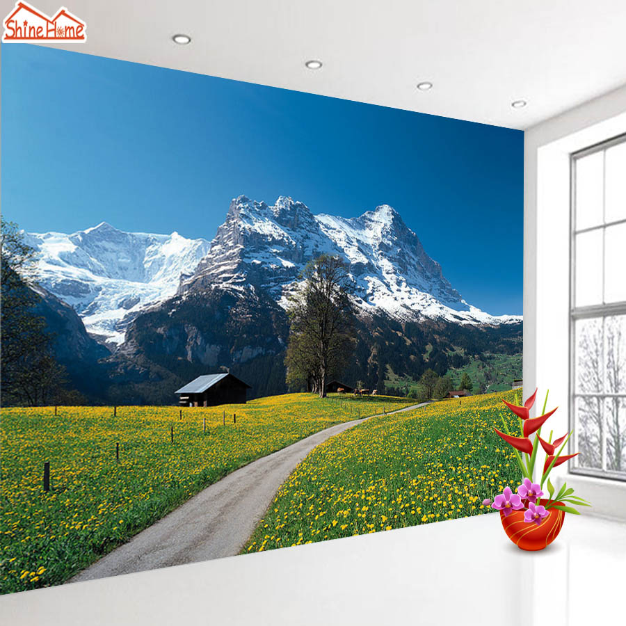 ShineHome-Snow Mountain Nature 3d Room Photo Wallpaper for Walls 3 d  Living Room Wallpapers Mural Roll Wall Paper Home Decor shinehome 3d room floral wallpaper nature brick wallpapers 3d for walls 3 d livingroom wallpapers mural roll wall paper covering