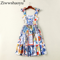 Ziwwshaoyu Europe Designer Summer Dress Women's High Quality Multicolor Porcelain Printed Spaghetti Strap Mini Boutique Vestido