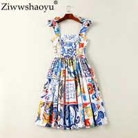 Ziwwshaoyu Europe Designer robe d'été femmes de haute qualité multicolore porcelaine imprimé Spaghetti sangle Mini Boutique Vestido