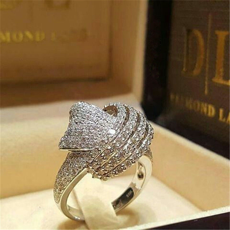 New Creative Twisted Winding Full Zircon Ring Luxury Women Ladies Fashion Silver Engagement Party Hand Jewelry Gift