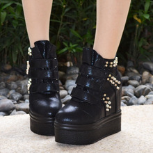 2016 Winter New Rivets Ladies Fashion Black Ankle Boots Womens Platform Wedge Booties Buy High Heeled Shoes Online