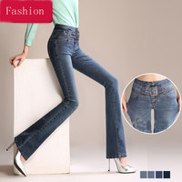 Summer and autumn high waist micro trousers women trousers Slim thin Korean straight trousers pants jeans female pants