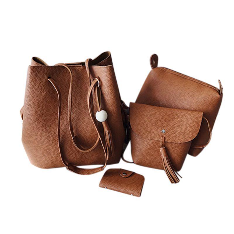 Ljl Women 4pcs/set Leather Handbag Shoulder Bag Tote Purse Messenger Satchel Clutch Drawstring Bags Shoulder Bags brown