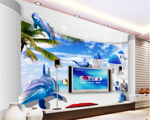 beibehang Customizable Scrubable Silk Cloth Wallpaper Dream Seaside World 3d Dolphin Stereo TV Backdrop Wall wallpaper tapety
