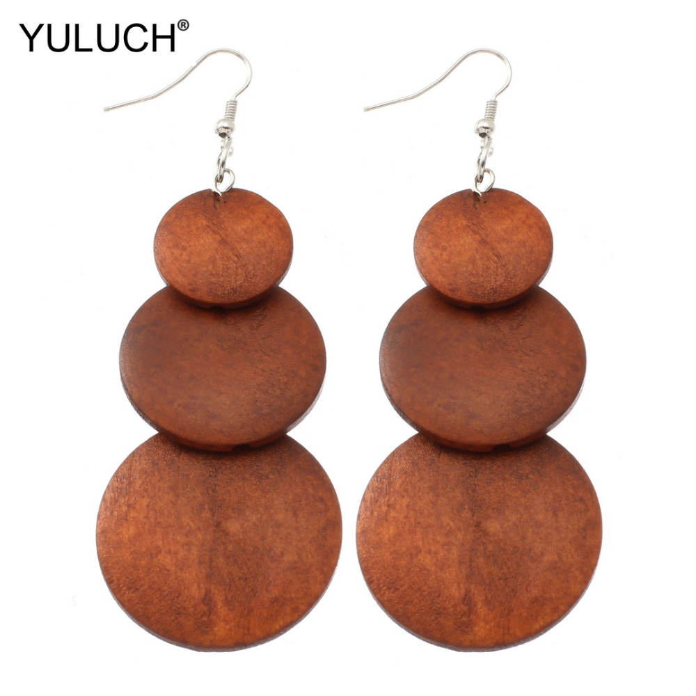 YULUCH 2019 Natural Painted Wood Ethnic Women African Pendant Pompom Pom Pom Fashion Girl Lady Jewelry Drop Earrings Party Gift