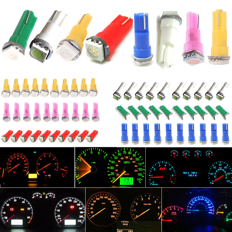 10pcs T5 17 37 73 74 SMD 5050 Auto 12VLED Lamp Car Dashboard Instrument Light Bulb For Ford