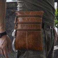 Negro/marrón primera capa de piel de cera de petróleo cuero pequeña bolsa de mensajero hombres cinturón cintura Pack para iPhone vaca