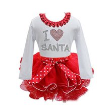 Christmas cartoon style Girl clothing Christmas baby girls lace kids clothes cotton baby tutu princess dress