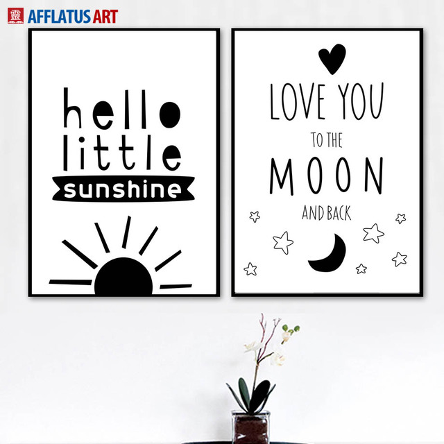 Black White Sun Moon Quotes Canvas Painting Wall Art Canvas Prints