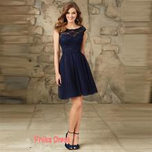 Elegant Navy Blue Lace Cap Sleeve Bridesmaid Dresses 2016 Sexy Open Back A Line Tulle Scoop Cheap China Beach Junior Party Dress