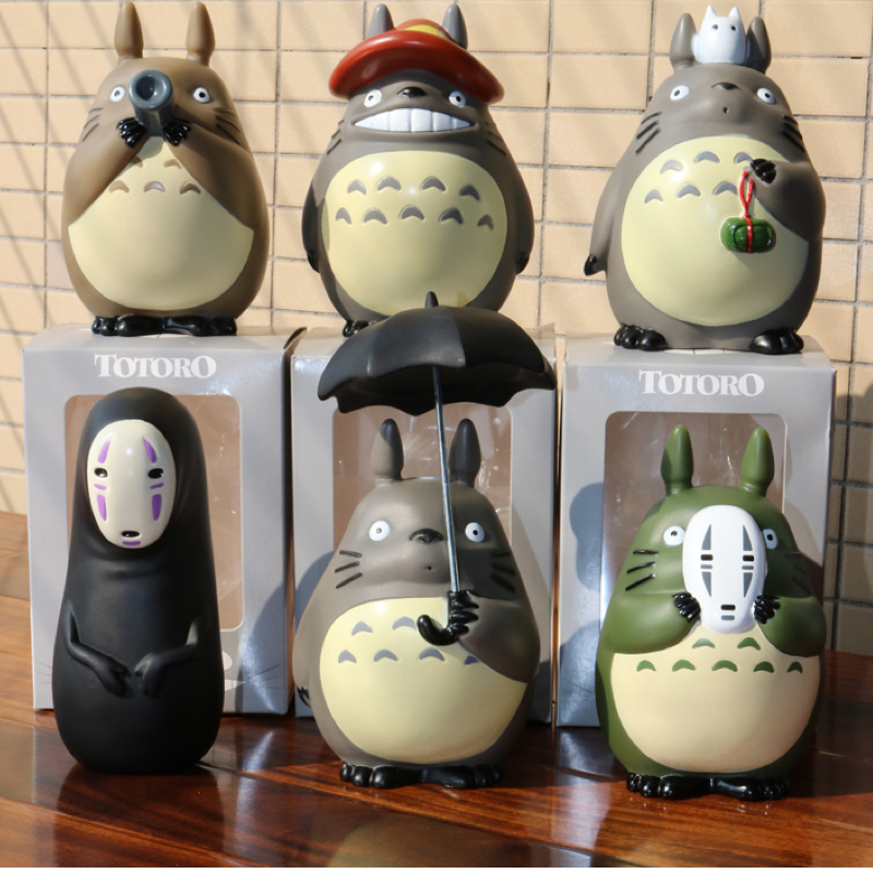 10cm My Neighbor Totoro Action Figures Studio Ghibli Miyazaki Hayao Model Toys Car Decoration 1set miyazaki hayao my neighbor anime totoro figure totoro mei fairy dust resin action figure toy gifts for garden home decor