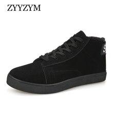 ZYYZYM Mens Boots Winter Boots Men Lace-Up Style Plush Warm Ankle Fashion Cotton Shoes Man Snow Boots zapatos de hombre все цены