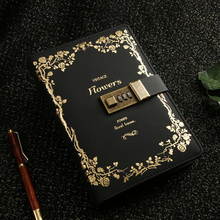 School Office Supplies Stationery Retro Classic Flower Notebook With Lock Business Agenda Password Diary Writing Note Book Gift student school office supplies stationery retro classic notebook with lock business agenda password diary planner writinggift