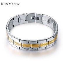 KISS MANDY New Fashion Bracelets Fashion Jewelry For Men Wristband Bangle 316L Stainless Steel Bracelets FB10