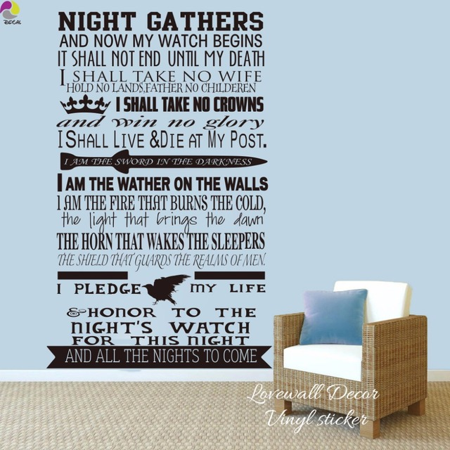 Game Of Thrones Nights Watch Oath Wall Sticker Living Room Bedroom A Song Ice And