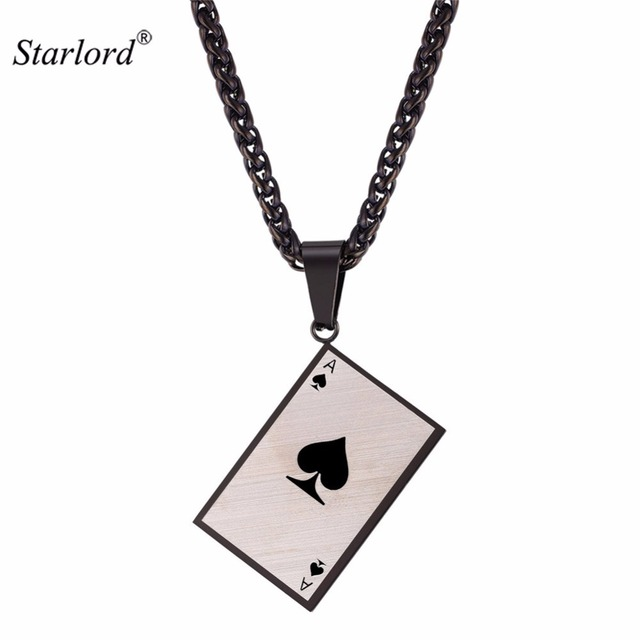Starlord mens poker charm pendant necklace for poker lover solid starlord mens poker charm pendant necklace for poker lover solid stainless steel ace of spade necklace aloadofball Image collections