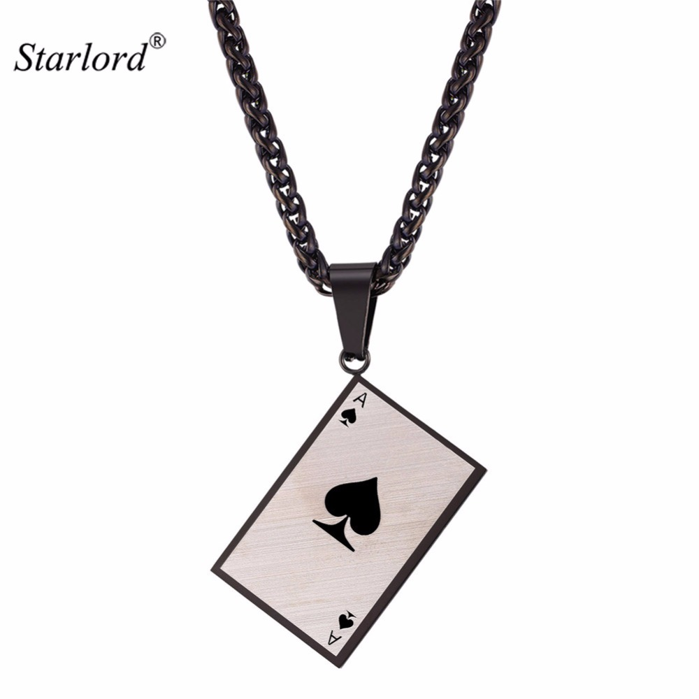 Starlord Mens Poker Charm Pendant Necklace For Poker Lover Solid Stainless Steel Ace Of Spade Necklace Gift For Him GP2576