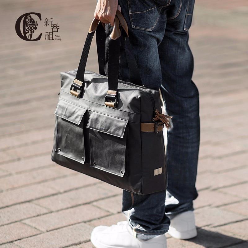 New Men Bags Hand Shoulder Bag 13 14 inch Large Capacity Travel Bag Crazy Horse Leather Messenger Bag Casual Classical Design
