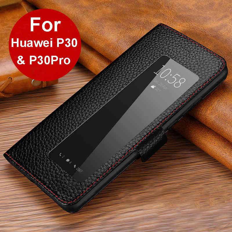 Caso de couro genuíno para huawei p30 pro capa magnética etui coque para huawei p30 p30pro caso da aleta fundas janela vista capa