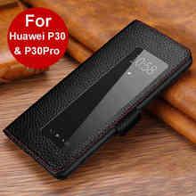 جلد طبيعي حافظة لهاتف Huawei P30 برو حالة الغطاء المغناطيسي Etui كوكه لهواوي P30 P30Pro الوجه حالة Fundas نافذة الرؤية كابا