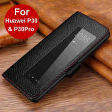 Huawei P30 Pro 케이스 P30 용 정품 가죽 케이스 Huawei P30Pro 플립 케이스 용 자기 Etui Coque Fundas 창보기 Capa