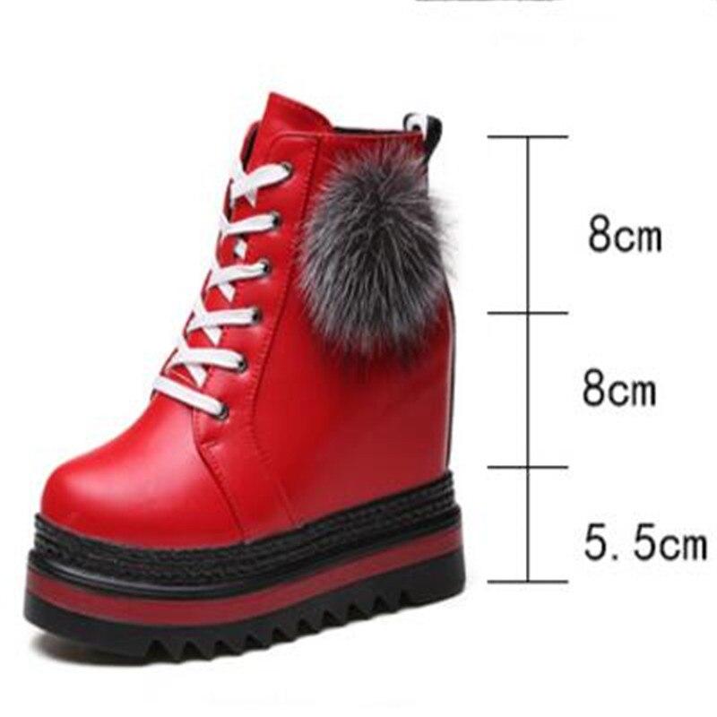 US $23.69 21% OFF|Herfst Vrouwen Enkellaars Winter Schoenen Vrouw Dikke Hak Botas Mujer 11 cm hoge hak Schoenen zijrits Platform trainers in Herfst