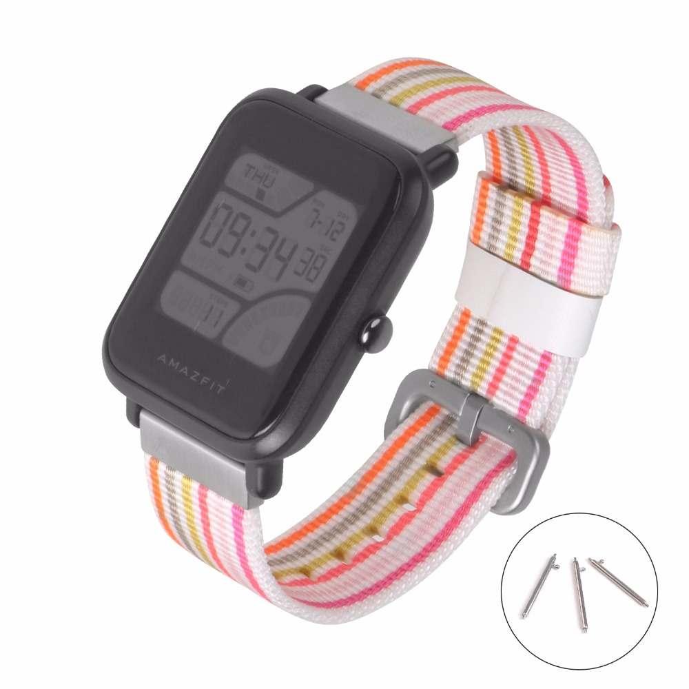 SIKAI New 20mm Universal Nylon Bracelet For Huami Aamazfit Youth Smartwatch Band For Amazfit Bip Bit Youth Edition Straps умные часы huami amazfit bip youth edition оранжевый