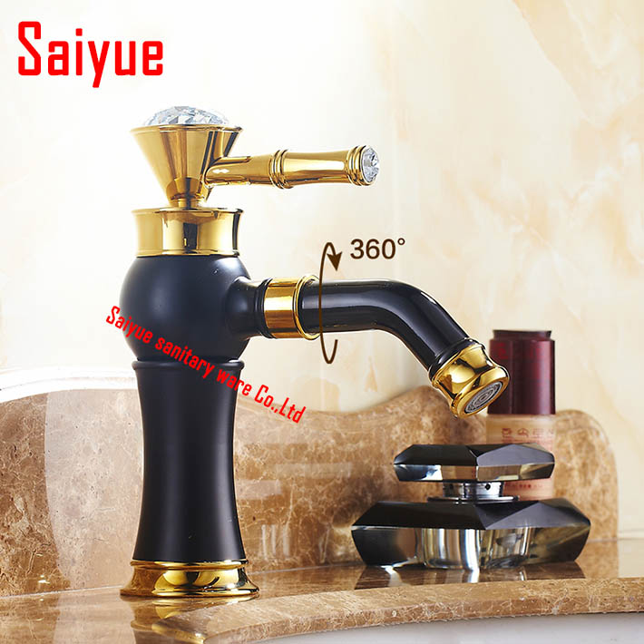 ФОТО New arrival Single handle hot and cold water faucets bathroom black painting deck mounted basin taps mixer bath sink faucet
