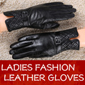 Women Winter Autumn Fashional Soft Sheep Leather Gloves Top Selling Style Black Leather Gloves In Russia