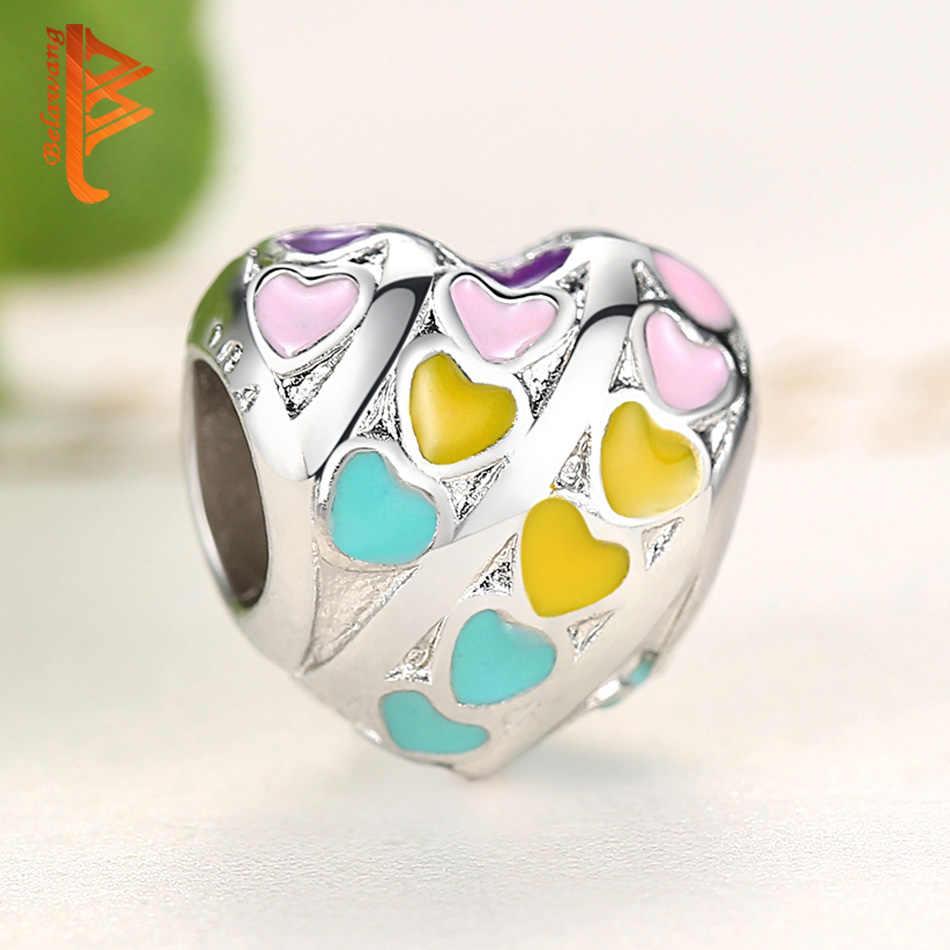 BELAWANG เคลือบ Silver Rainbow หัวใจรักลูกปัด Charms พอดีสร้อยข้อมือเดิมสร้อยคอผู้หญิงเครื่องประดับของขวัญแฟน