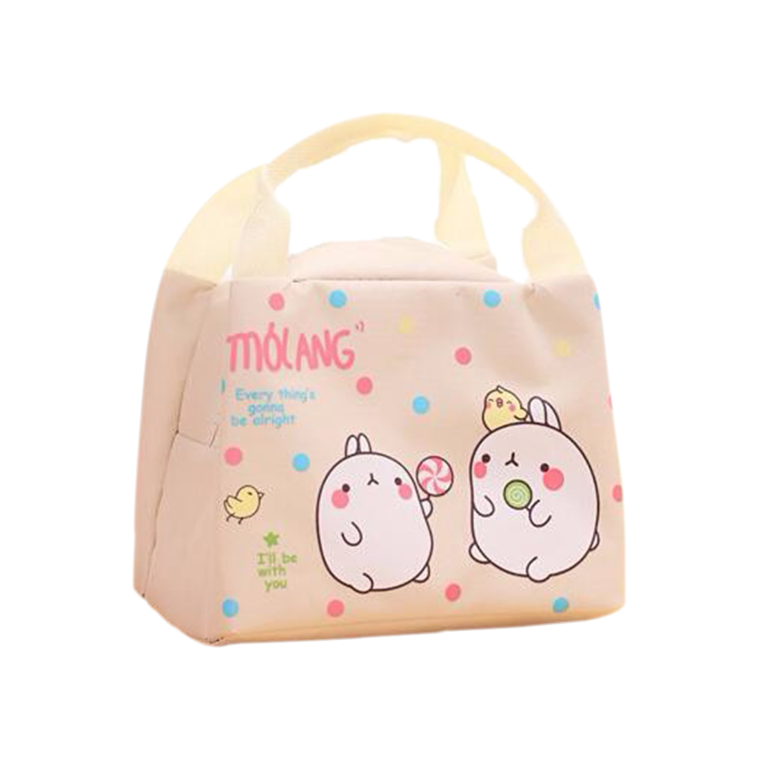 Cute Rabbit Canvas Lunch Thermal Bag Portable Insulated Food Picnic Bags Cooler Lunch Box Bag Tote