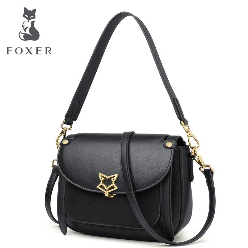 FOXER luxury fashion shoulder strap saddle bag wide shoulder strap shoulder bag pig messenger bag 2018 new women's bag foxer shoulder