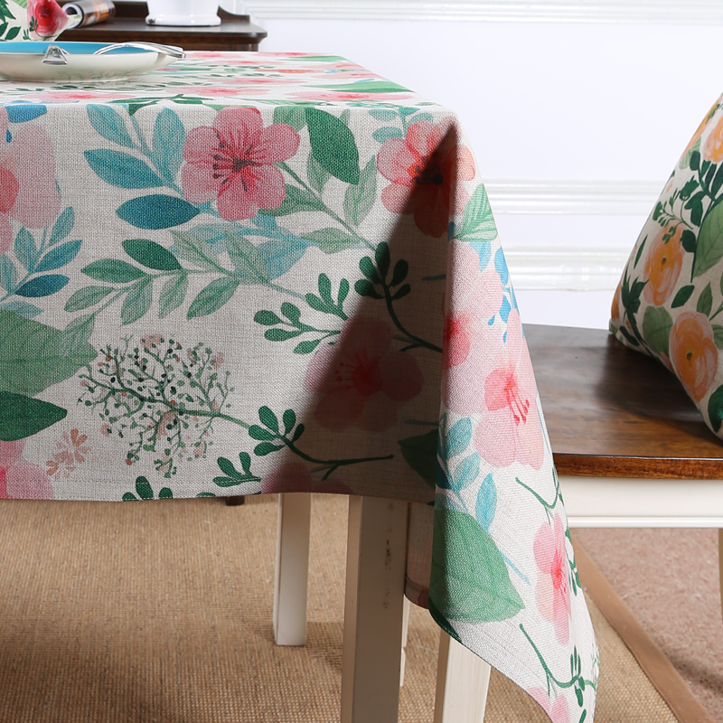 Customizable Floral Print Europe Pastoral cotton linen table cloth restaurant party wedding table cover kithcken tablecloths