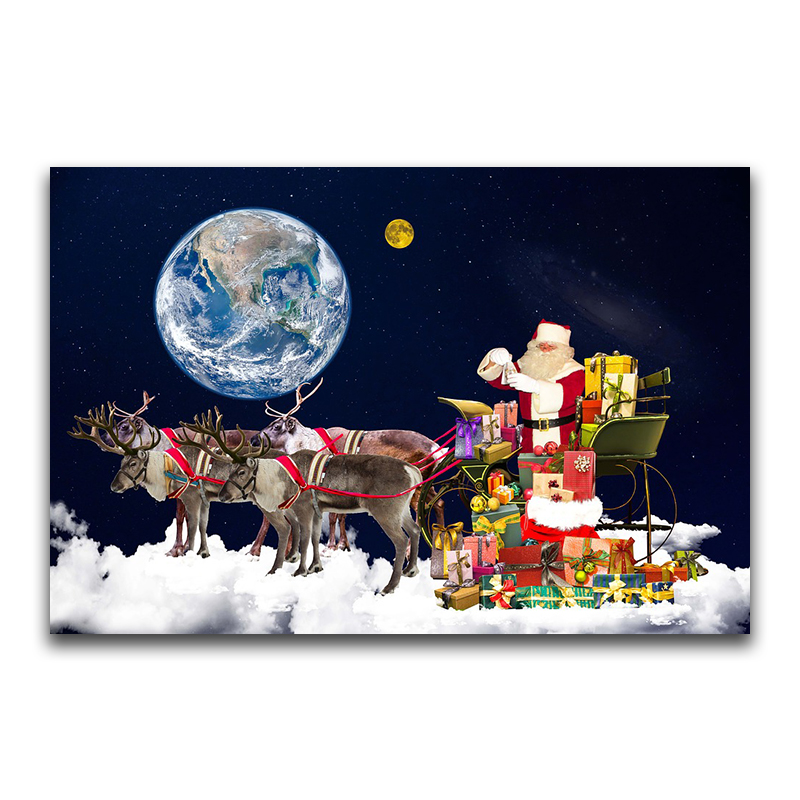5D DIY Full Square Diamond Painting Cross Stitch Santa delivering a gi 3D Diamond Embroidery Rhinestone Mosaic Home Decor Gift