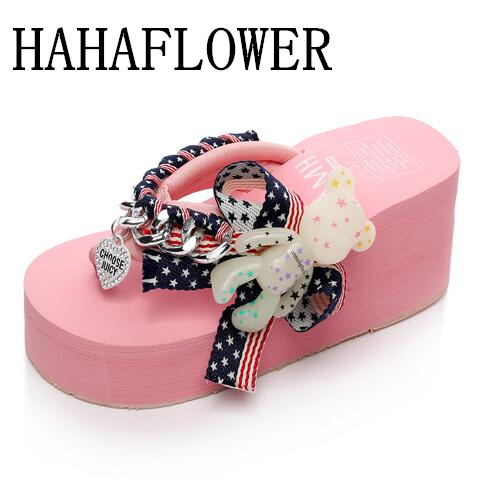 HAHAFLOWER Summer Cute Bear Flip Flops Sweet Style Students Thick Soled Slippers Women Beach Platform Sandals Wedges Shoes