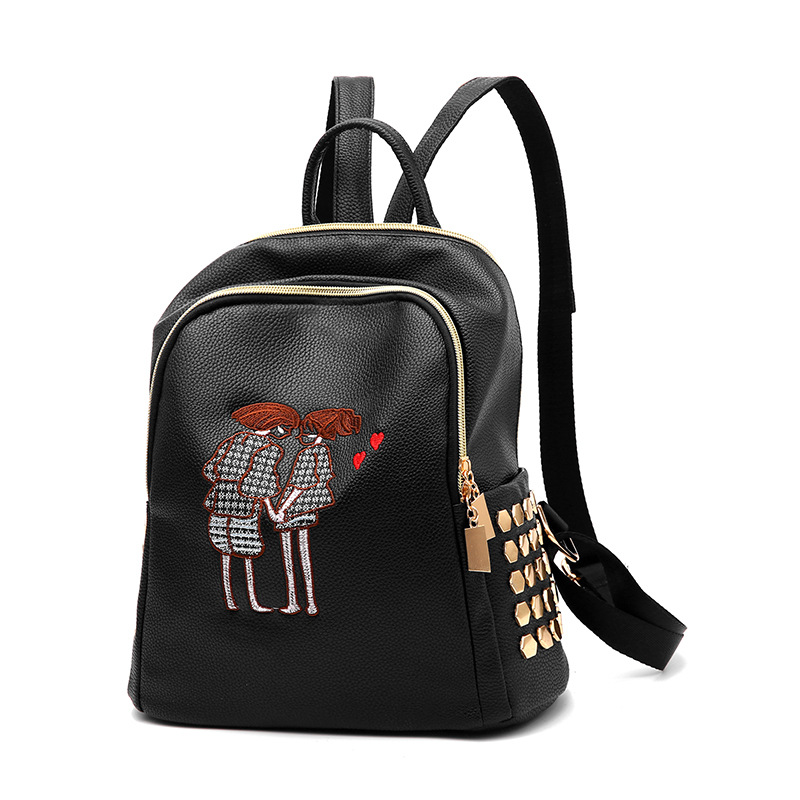 Yongbong Fashion Rivet Pu Leather Backpack Women Embroidery School Bag For Teenage Girls Brand Ladies Backpacks Black Sac A Dos #5
