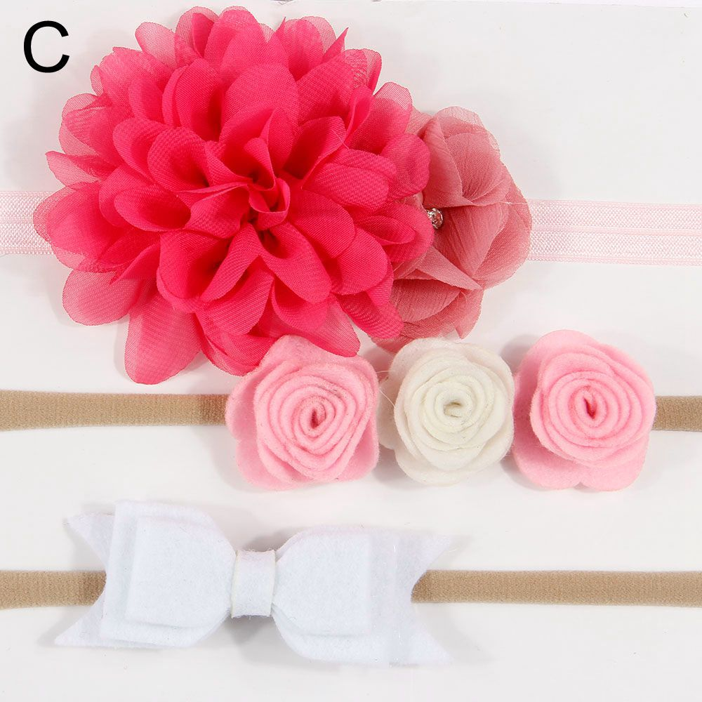 3Pcs/Set Baby Girls Nylon flower Headband lace flowers Hair Bows Elastic Hairband for Bebe Kids Children Hair Accessories