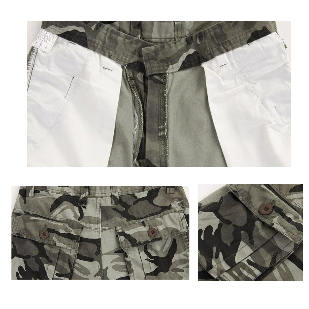Mens Camo Cargo Shorts Summer Military Army Fatigue Camouflage Cargo Pants Work Jogger Trousers Baggy Shorts