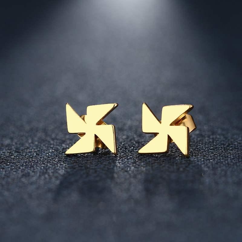 CACANA Stainless Steel Stud Earring For Women Man Windmill Gold And Silver Color Lovers Engagement Jewelry Drop Shipping