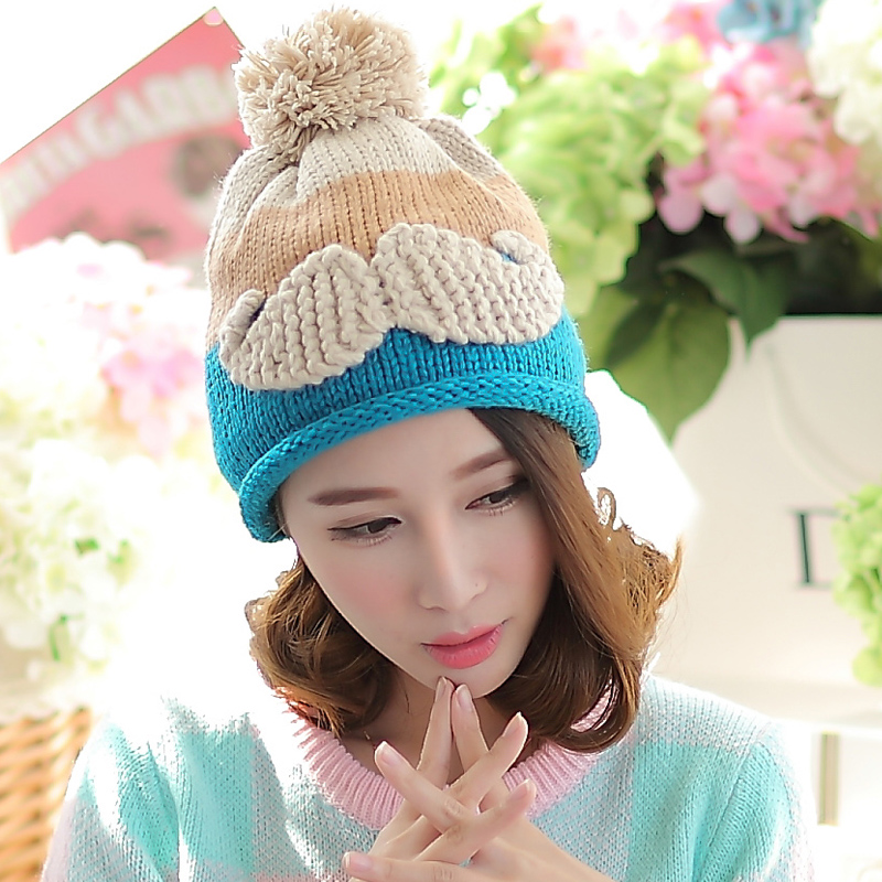 BomHCS Autumn Winter Contrast Color Mosaic Thick Women Hat Fashion Roll 3D Beard Handmade Knitted Beanie Hats Cap bomhcs mosaic contrast color women s fashion winter soft warm crochet beanie handmade knitted hat cap