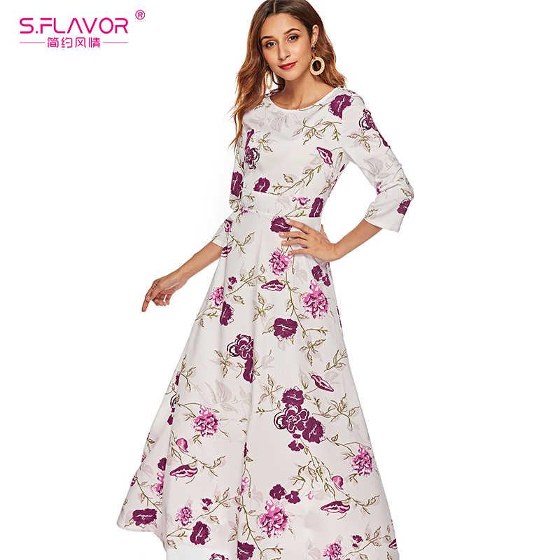 S. FLAVOR женское повседневное весенне-летнее платье с богемным принтом и круглым вырезом, вечерние длинные платья для женщин, элегантное женское тонкое платье