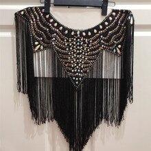 Neue Hochzeit hochzeit handgemachte doppelte seite kristall perlen Ausschnitt kragen appliques mit quasten Fringe l