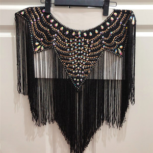 Image 1 - new Wedding wedding handmade double side  crystal beaded Neckline  collar appliques with tassels  Fringe l