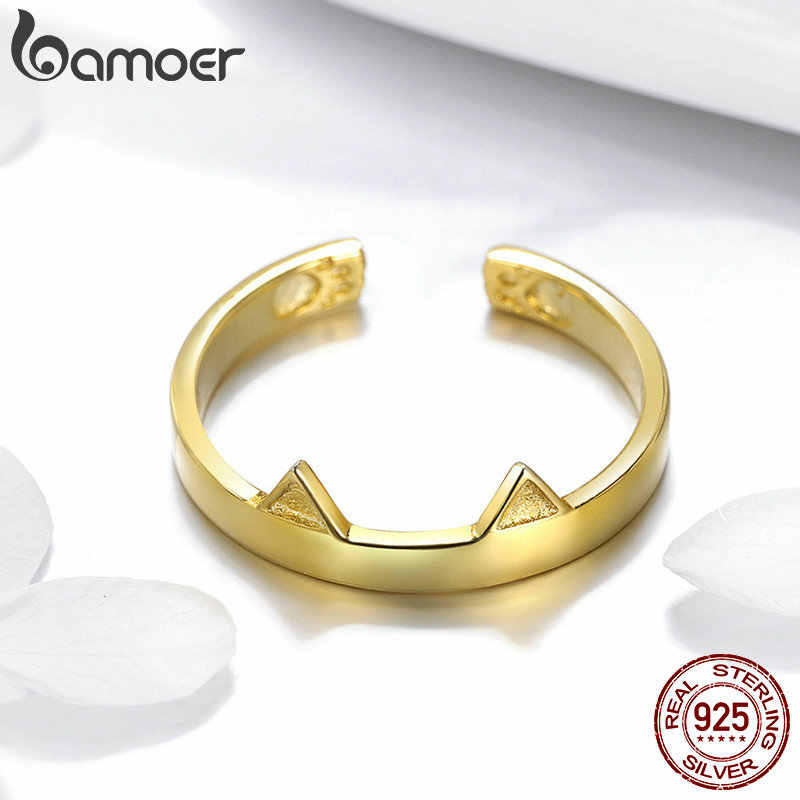 BAMOER 100% 925 เงินสเตอร์ลิง 3 สีแมวหูสัตว์รูปร่างเปิด Paw แหวนนิ้วมือหมั้นแต่งงานเครื่องประดับ SCR387-4