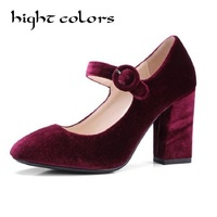 Gold Velvet Women Shoes 2018 Spring Green Mary Jane Ladies High Heels Shoes Thick Heel Pumps