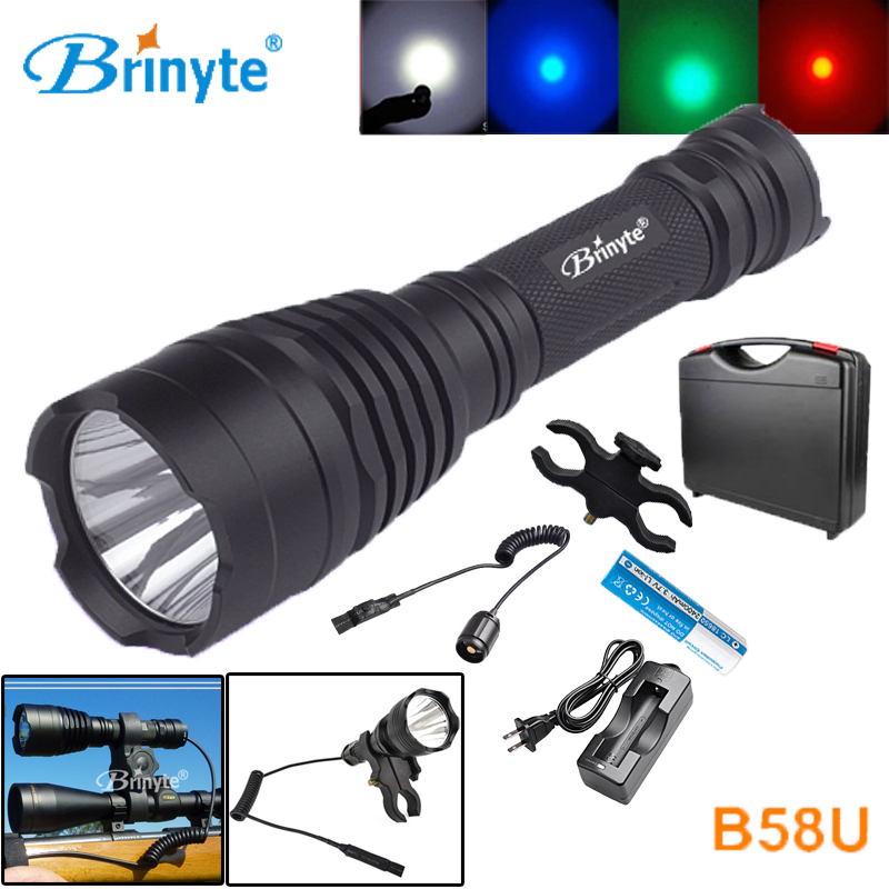 Brinyte B58U Best Hunting Flashlight Torch Waterproof Cree XM L2 LED Outdoor Flashlights with 18650 Battery ABS Tool Case Suit self defence led flashlight 18650 lantern tactical zoom penlight cree led flashlights with 18650 battery torch new outdoor