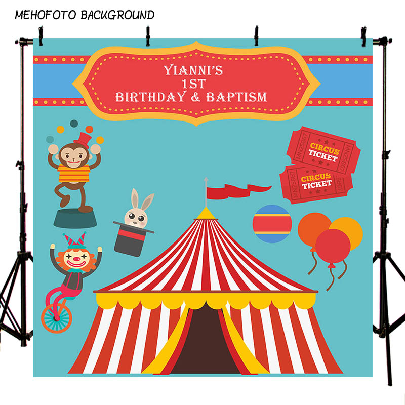 MEHOFOTO Children Circus Birthday Party Photo Background 7x5ft Thin Vinyl Photography Backdrops for Photo Studio Custom LV-085 circus banner party backdrops vinyl cloth computer printed children photo background circus